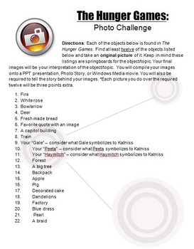 The Hunger Games Photo Challenge, Digital Arts Project, Yearbook, Movie Task