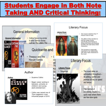 The Hunger Games : PowerPoint Notes, Exercises, Insights