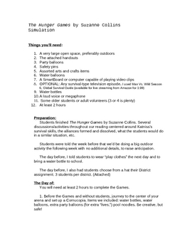 The Hunger Games Simulation Activity-- Host the Games at Your School!