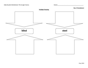 The Hunger Games Student Worksheets