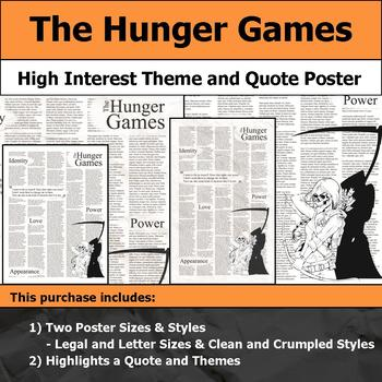 The Hunger Games - Visual Theme and Quote Poster for Bulletin Boards
