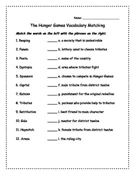 The Hunger Games Vocabulary Activities