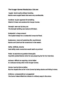 The Hunger Games- Vocabulary List 1