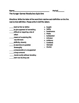 The Hunger Games- Vocabulary Quiz 1
