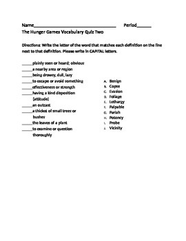 The Hunger Games- Vocabulary Quiz 2