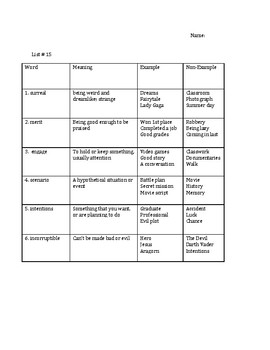 The Hunger Games Vocabulary Unit #15