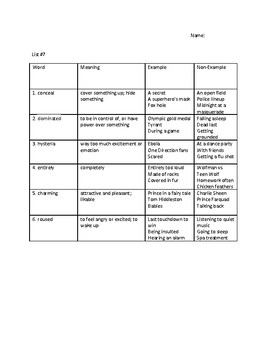 The Hunger Games Vocabulary Unit #7