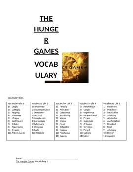 The Hunger Games Vocabulary and Activities