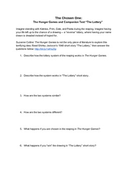 The Hunger Games and Companion Text: The Lottery