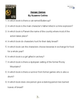 The Hunger Games by Suzanne Collins, Battle of the Books Questions