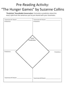 """The Hunger Games"" by Suzanne Collins Pre-Reading Activities - Engaging, FUN"