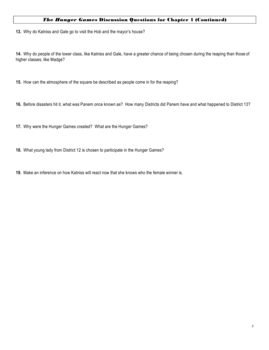 The Hunger Games by Suzanne Collins Reading Comprehension Questions