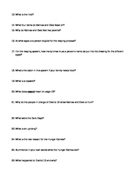 The Hunger Games novel questions