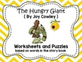 """Worksheets for use with """"The Hungry Giant"""" Book"""