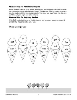 The Ice Cream Cone Game (rhyming words)