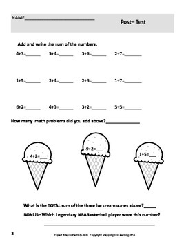 The Ice Cream Shop, Addition,Counting and Writing Math Facts