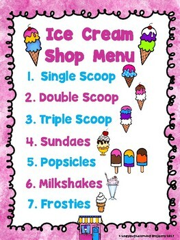 The Ice Cream Shop Dramatic Play / Writing Center Bundle