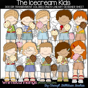 The IceCream Kids Clipart Collection