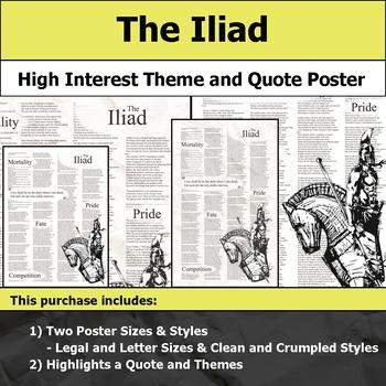 The Iliad - Visual Theme and Quote Poster for Bulletin Boards