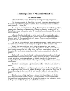The Imagination of Alexander Hamilton
