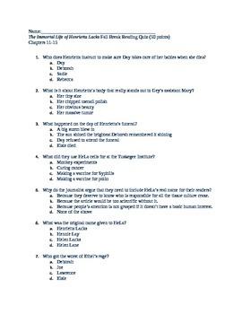 The Immortal Life of Henrietta Lacks Chapters 11-15 Quiz
