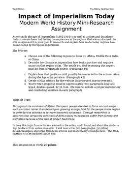 The Impact of Imperialism Today- Mini Research Assignment- World History