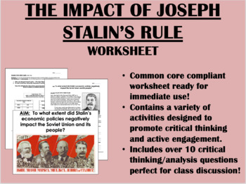 The Impact of Joseph Stalin's Rule - Global/World History Common Core