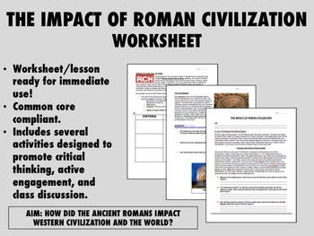 The Impact of Roman Civilization worksheet - Global/World