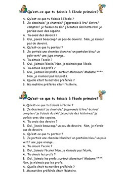 French Teaching Resources. The Imperfect Tense: Role Play.