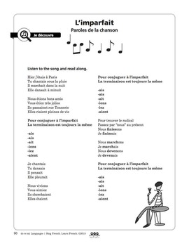 French Imperfect Tense Song and Writing Activities