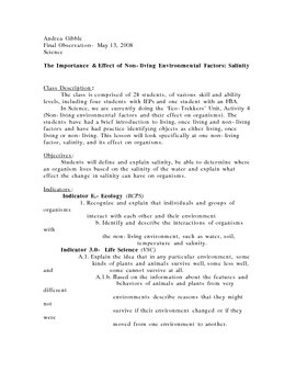 The Importance & Effect of Non-living Environmental Factors: Salinity