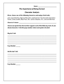 The Importance of Being Earnest - Character Analysis Activ