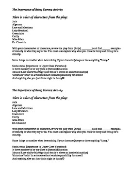 The Importance of Being Earnest Comedy Class Activity (solo or group)