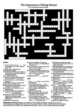 The Importance of Being Earnest - Crossword Puzzle