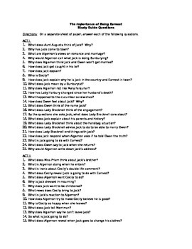 The Importance of Being Earnest Guiding Questions