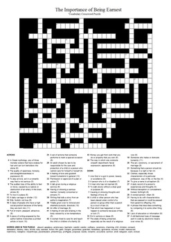 The Importance of Being Earnest - Vocabulary Crossword