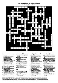 The Importance of Being Earnest - Vocabulary Crossword (U.K. Spelling)