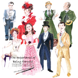 The Importance of Being Earnest Watercolor illustration set