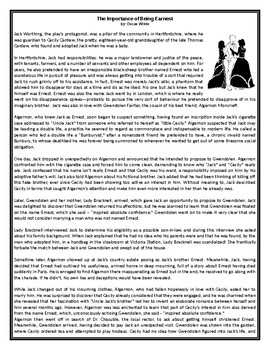 The Importance of Being Earnest - by Oscar Wilde - GCSE Reading Comprehension