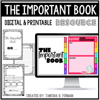 The Important Book: A Back to School Activity