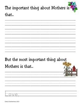 Mother's Day Interactive Writing The Important Thing About