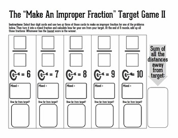 Improper to Mixed Fraction Practice Target Game