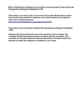 The Inauguration of George Washington Primary Source Worksheet