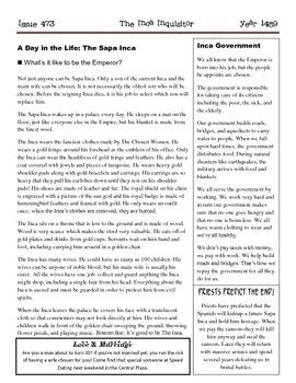 The Inca Inquisitor Newspaper