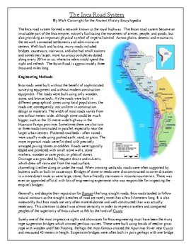 The Inca Road System Article and Questions