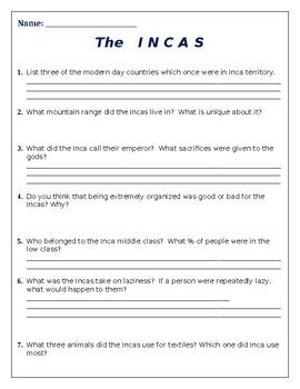 The Incas Powerpoint Worksheet