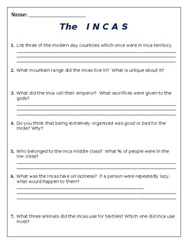 The Incas Powerpoint Worksheet