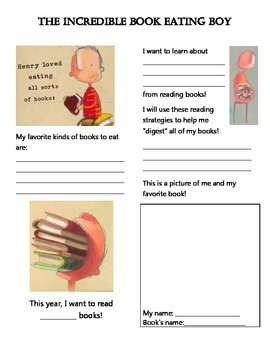 """The Incredible Book Eating Boy """"Building a Reading Life"""" resource"""