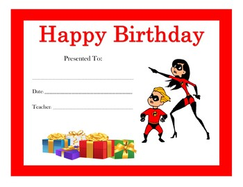 The Incredibles Birthday Certificates (Includes 6 Certificates)