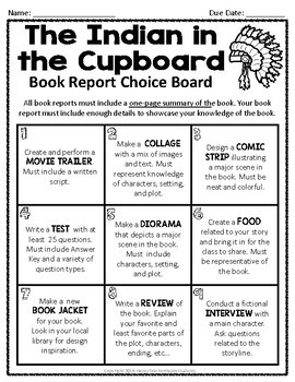 The Indian In Cupboard Book Report Project Students Pick From 9 Activities